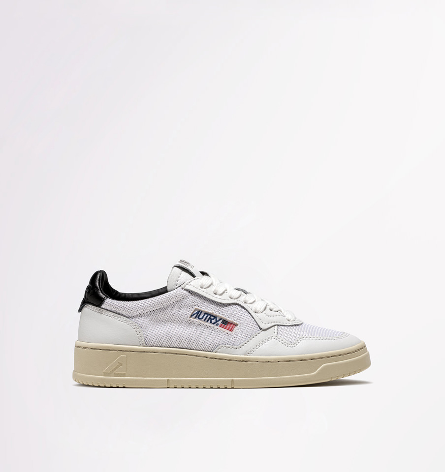 AUTRY: SNEAKERS LOW IN TESSUTO BIANCO NERO