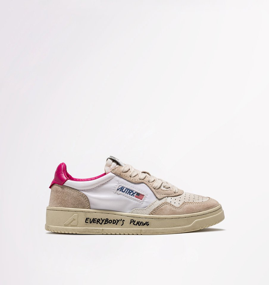 AUTRY: LOW SNEAKERS IN NYLON AND CRACKLE EFFECT LEATHER COLOR WHITE FUCHSIA