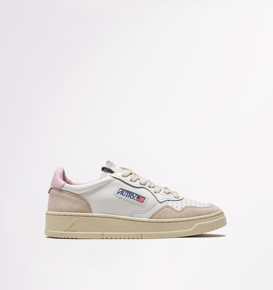 AUTRY: LOW SNEAKERS IN WHITE PINK LEATHER AND SUEDE