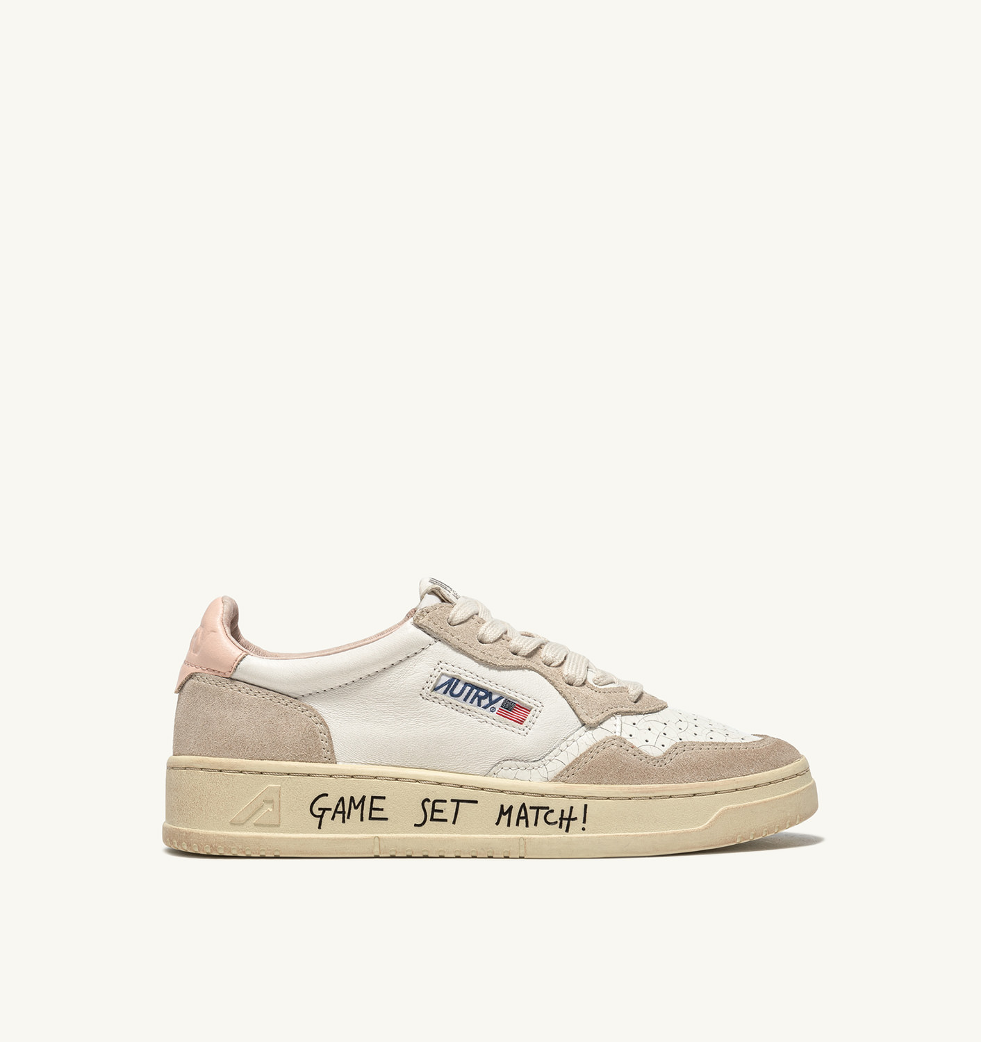 AUTRY: AUTRY MEDALIST LOW SNEAKERS IN LEATHER AND SUEDE COLOR WHITE PINK