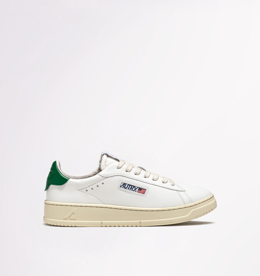 AUTRY: SNEAKERS DALLAS LOW IN WHITE GREEN LEATHER