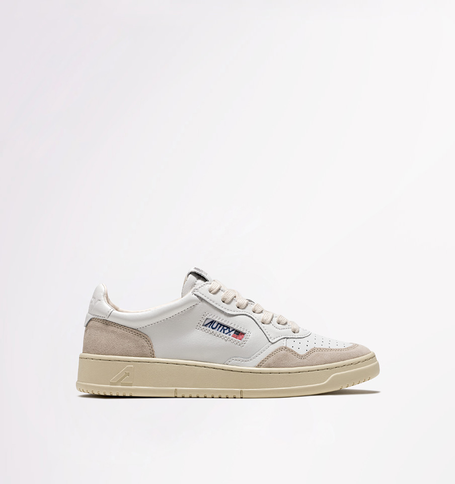 AUTRY: LOW SNEAKERS IN WHITE LEATHER AND SUEDE