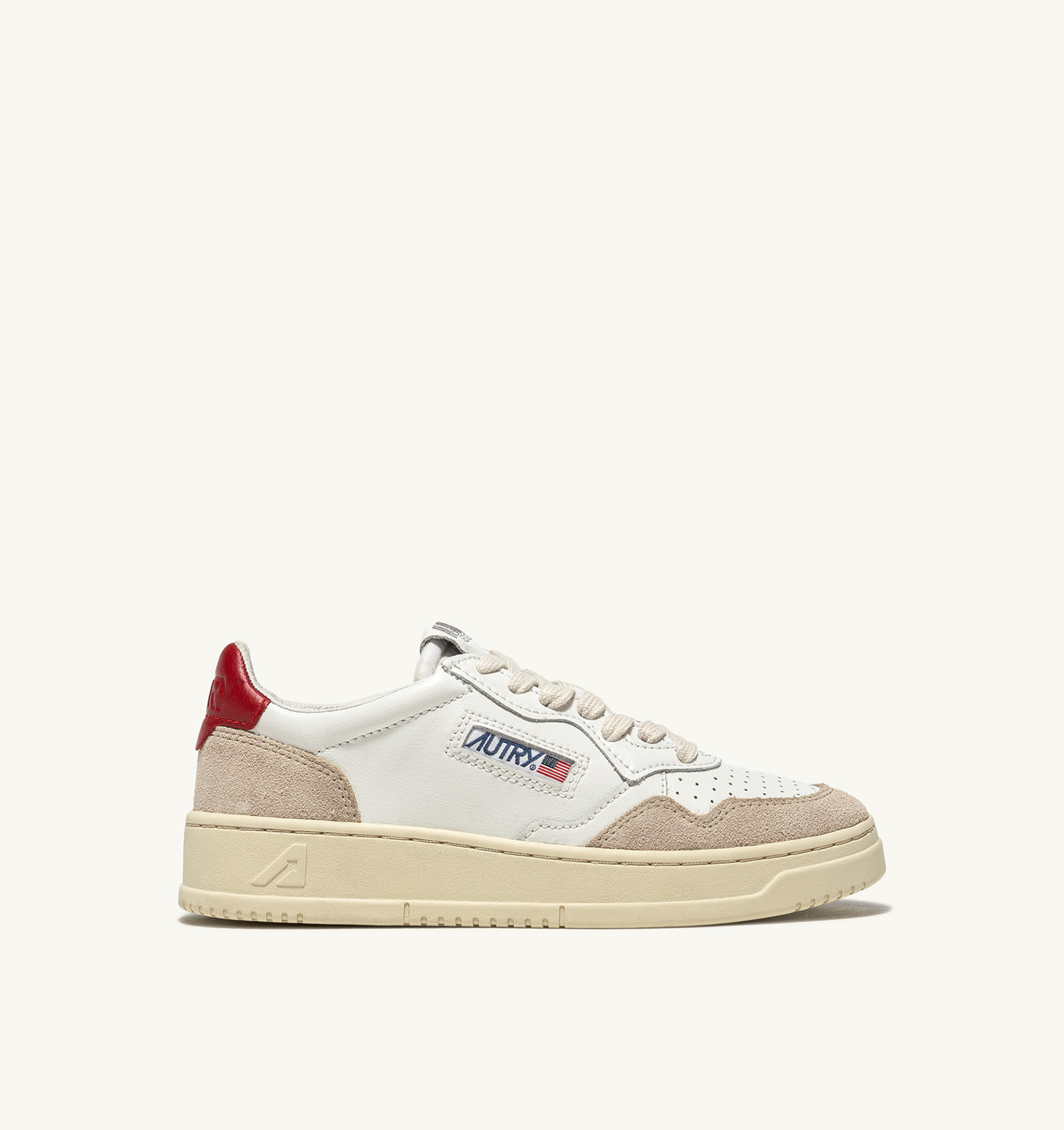 AUTRY: SNEAKERS MEDALIST LOW IN PELLE E SUEDE BIANCO ROSSO