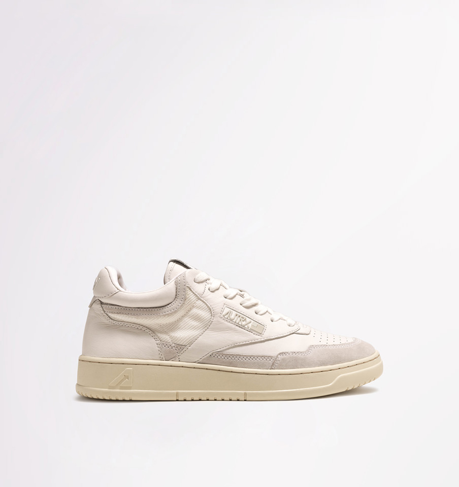 AUTRY: SNEAKERS MID CUT IN PELLE E TESSUTO BIANCO