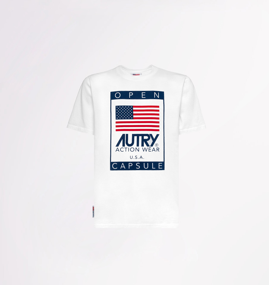 AUTRY: CREW NECK T-SHIRT WITH STARS AND STRIPES PRINT
