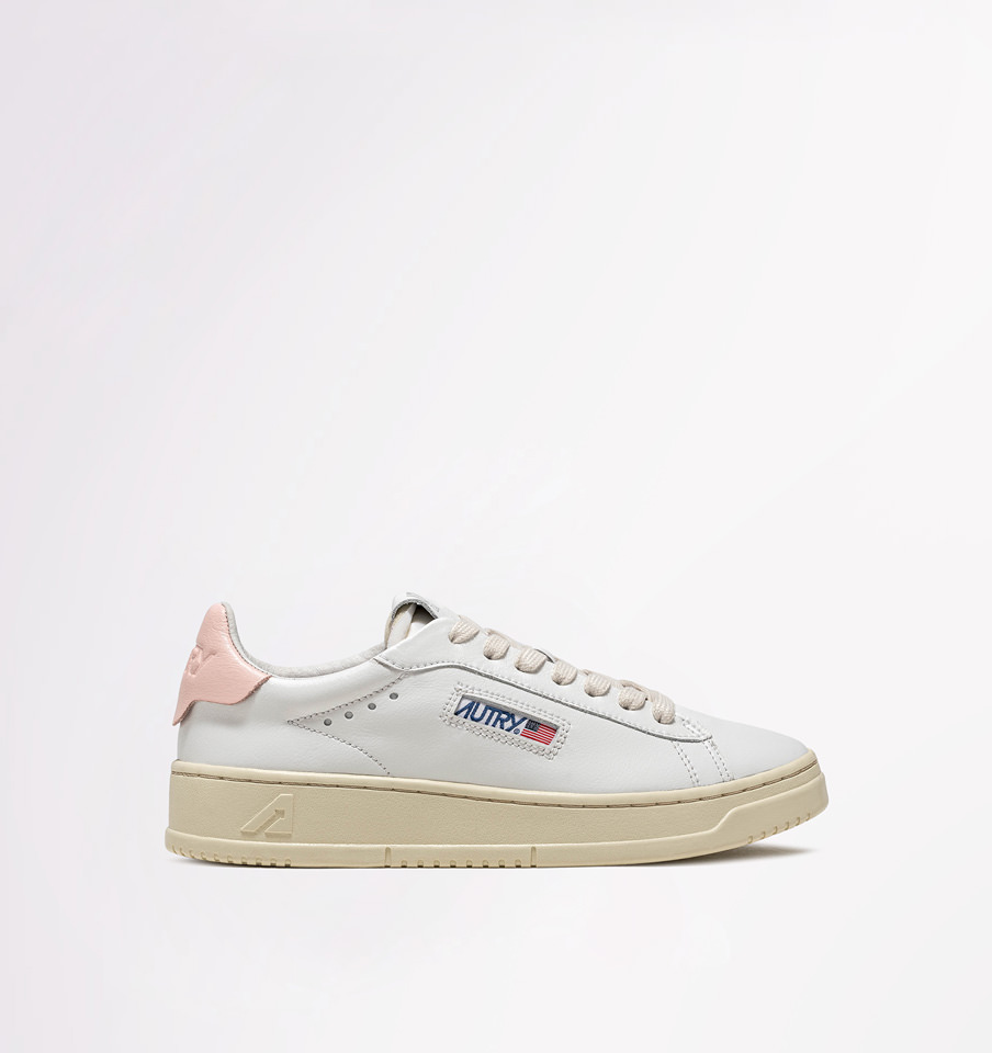 AUTRY: DALLAS LOW SNEAKERS IN LEATHER COLOR WHITE PINK