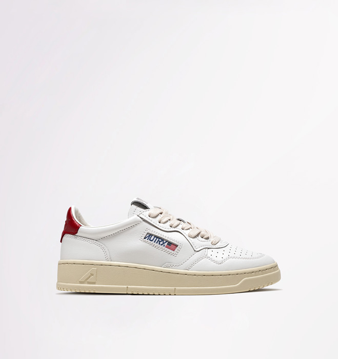 AUTRY SNEAKERS LOW IN PELLE BIANCO ROSSO