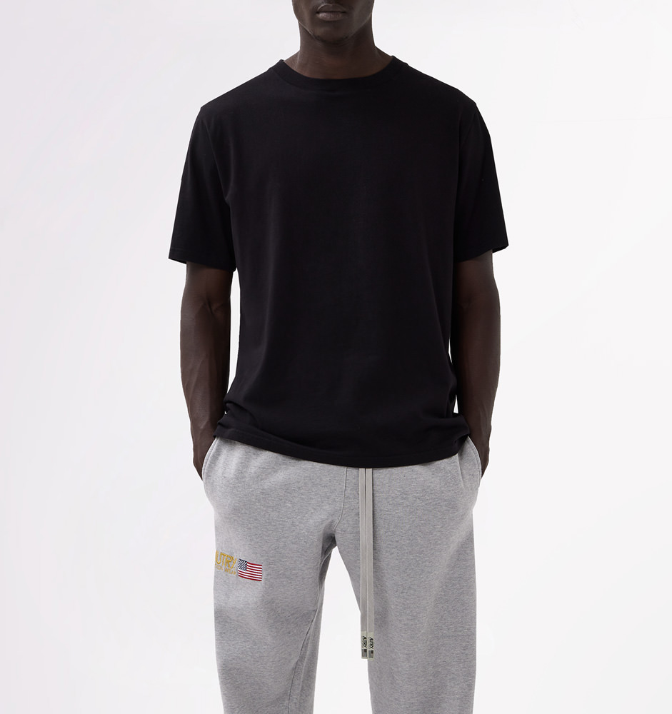 AUTRY CREW NECK T-SHIRT WITH LOGO PRINT AT BACK