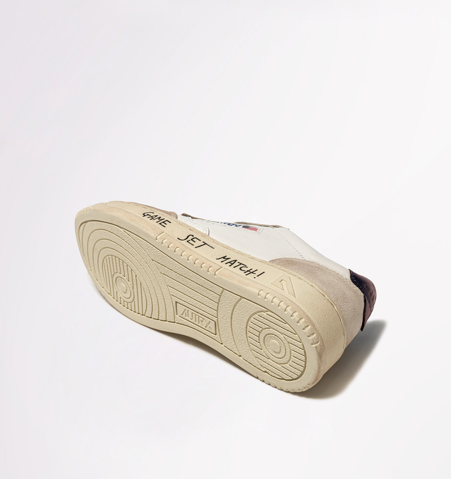 AUTRY: AUTRY SNEAKERS MEDALIST LOW IN PELLE E SUEDE BIANCO VIOLA