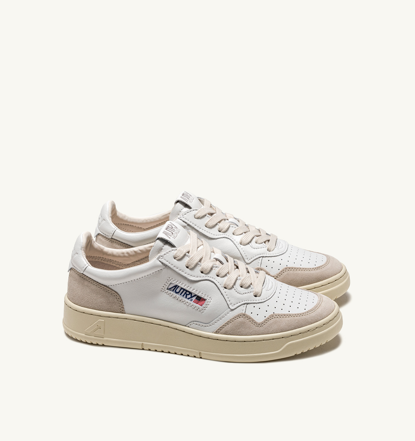 AUTRY: SNEAKERS MEDALIST LOW IN PELLE E SUEDE BIANCO